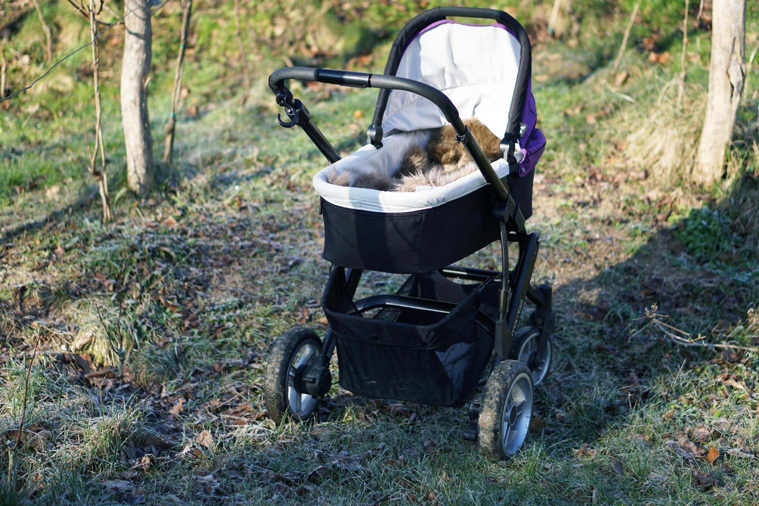 Kinderwagen im Winter mit Lammfell