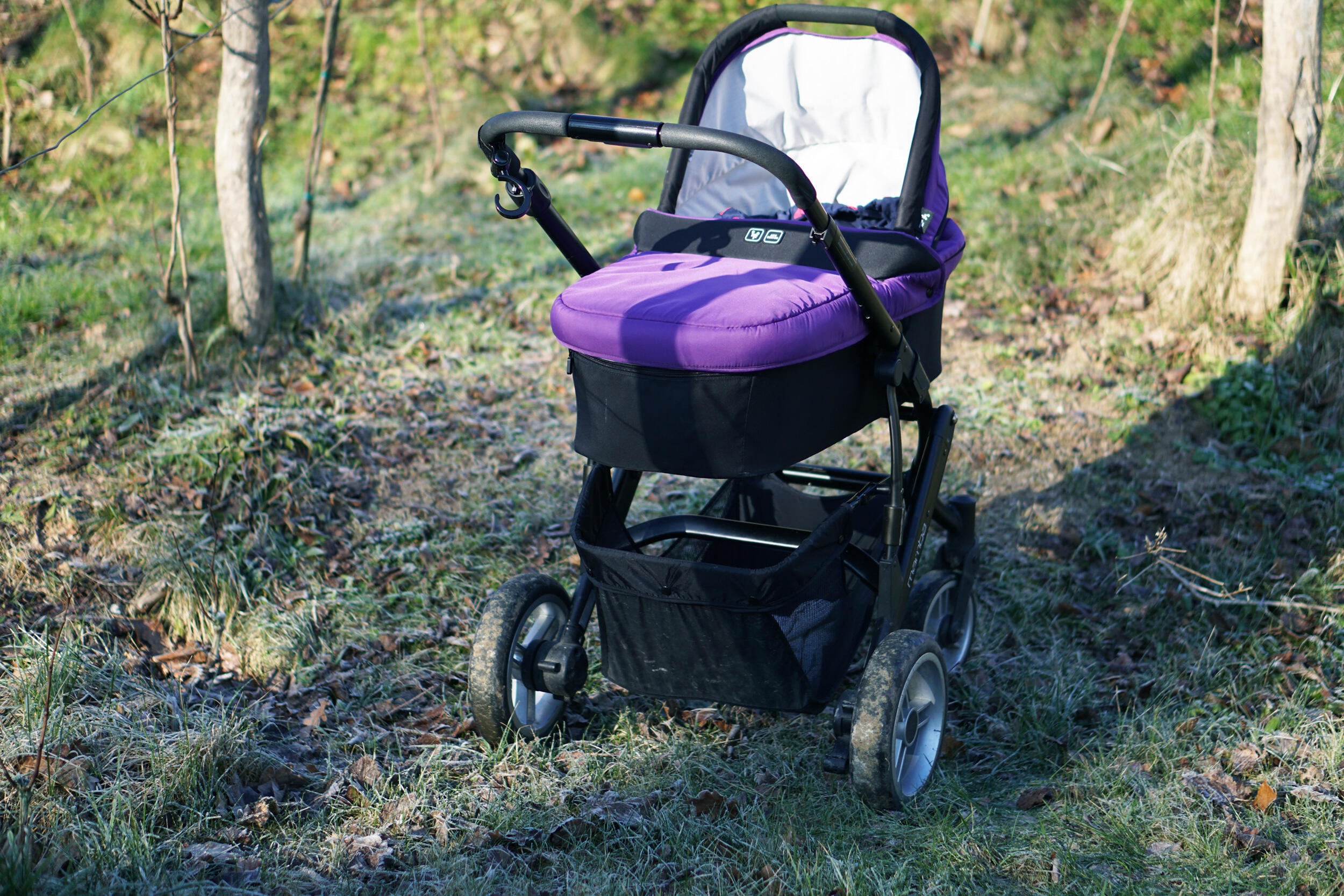 Kinderwagen im Winter mit Schaffell