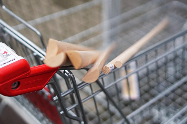 Baumarkt Einkaufswagen Holz Einkauf