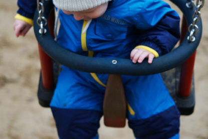 Kindergarten Kita Eingewöhnung Papa und Baby Kollwitzplatz Berlin Schaukel Babyschaukel Spielplatz Winter