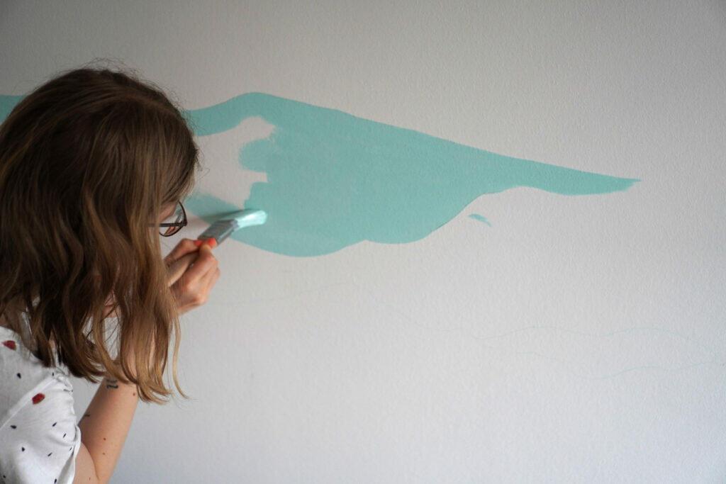 Farbe Türkis Wandfarbe streichen