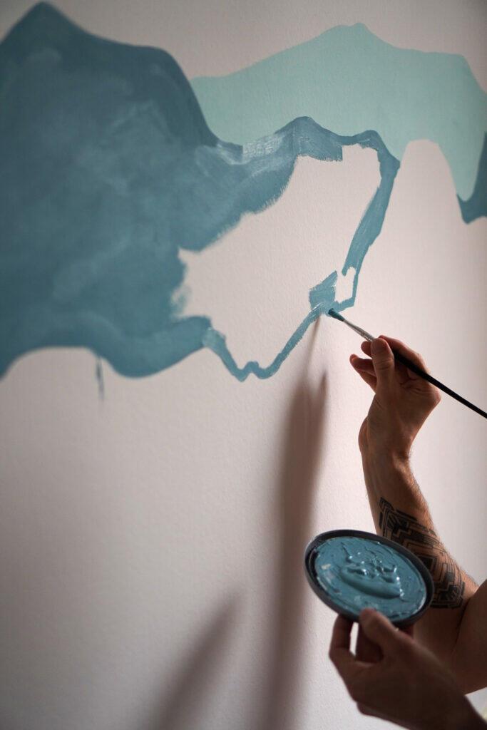 Streichen Farbe Blau Papa Wand Pinsel