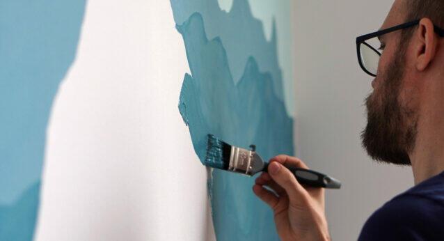 Streichen Farbe Blau Papa Wand