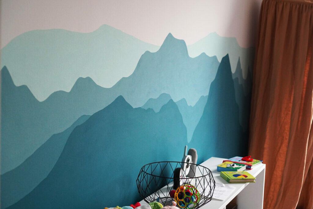 DIY Kinderzimmer Wand streichen Berge