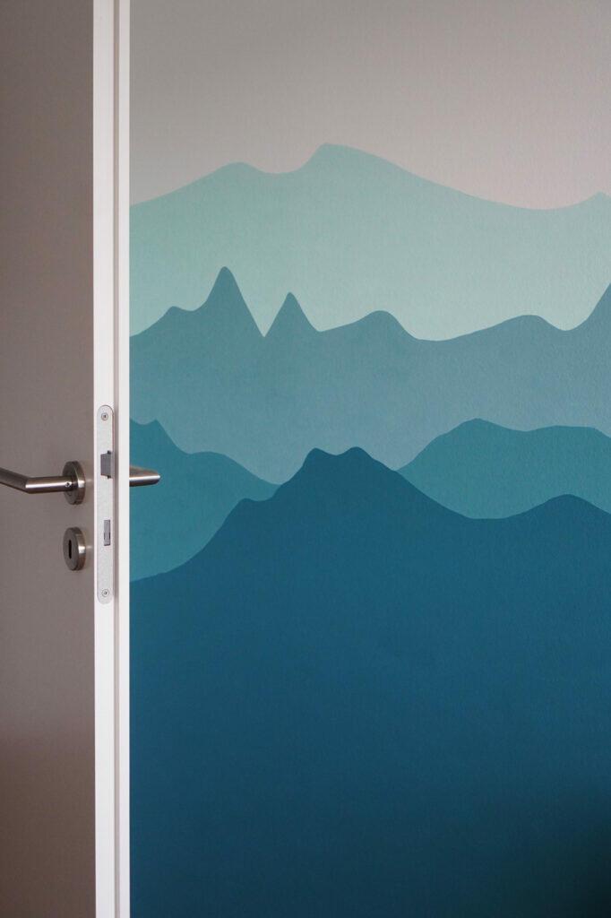 Kinderzimmer Wand Wandgestaltung Berglandschaft Berge Bergkette